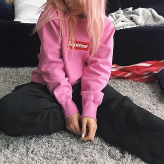 sweater pink supreme cute women sweatshirt instagram pink sweater kylie jenner supreme sweater tumblr grunge barbie jacket supreme jacket
