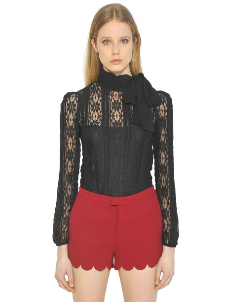 RED VALENTINO top lace top lace black