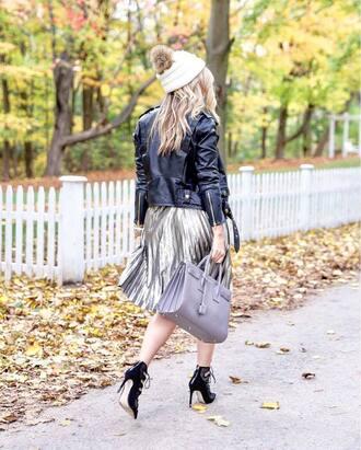 skirt tumblr metallic pleated skirt pleated skirt midi skirt metallic silver silver skirt high heels black heels leather jacket black leather jacket black jacket jacket pom pom beanie beanie white beanie bag grey bag