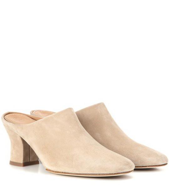 The Row Adela Suede Mules in beige / beige