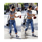 t-shirt,stripes,crop tops,shoes,bag,black and white,kylie jenner,jeans,cuffed jeans,baggy,denim bottoms