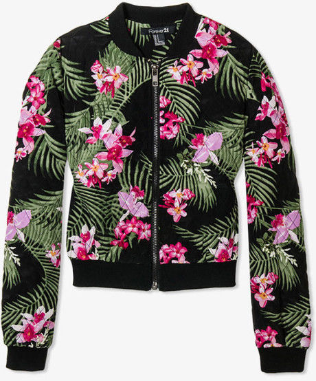 forever 21 floral tropical print quilted jacket bomber