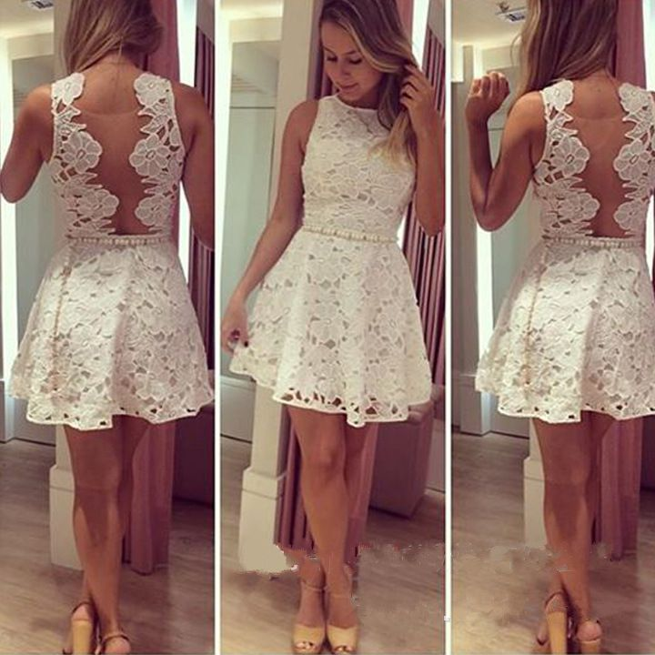 Dresses Back Transparent In Dress Girl Prom Vestido Vestidos Gown Floral Embroidery Dr5463 White Homecoming Sexy Lace Curto Open rCeEQxdoWB
