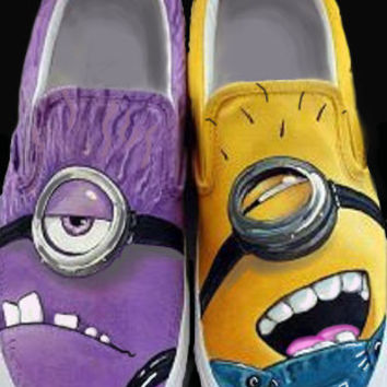 Despicable Me 2  Good VS Evil Minion. Custom Painted Shoes.  Purple and Yellow Minions UNITE on Wanelo