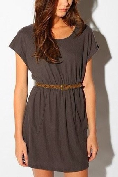 dress casual dress grey dress belt wheretoget