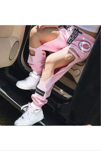 pants black high waisted pants yoga pants skinny pants harem pants printed pants boho pants drop crotch pants outfit outfit idea tumblr outfit summer outfits pink streetwear cut off shorts cute side cut outs pink pants