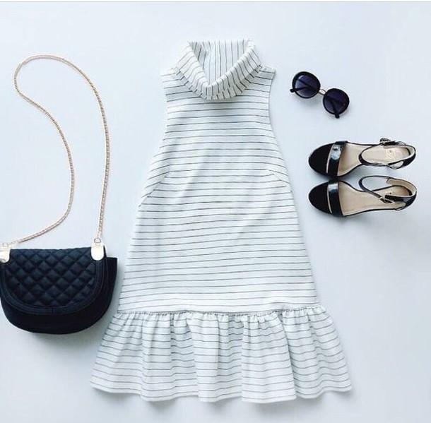 dress white dress pinstripe dress