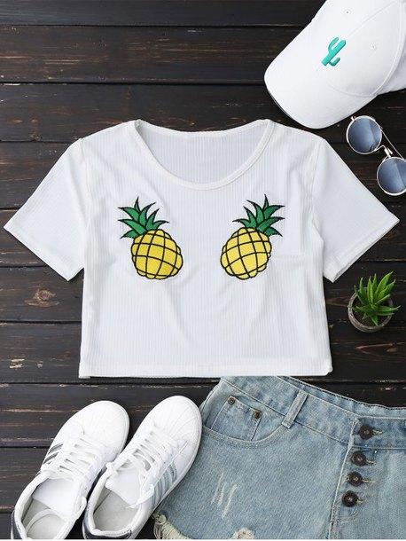 top summer spring pineapple print shirt casual crop tops