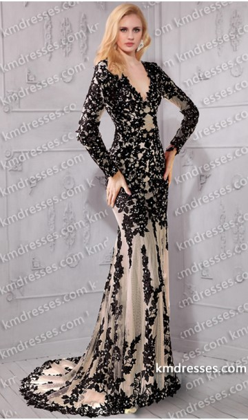 luxurious deep v-neck long sleeve open back tulle beaded lace applique gown