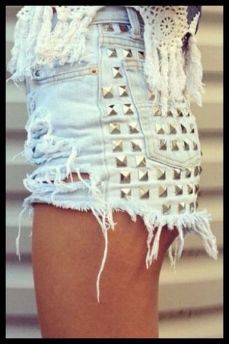 high waisted shorts studded shorts light blue navy lace crop top