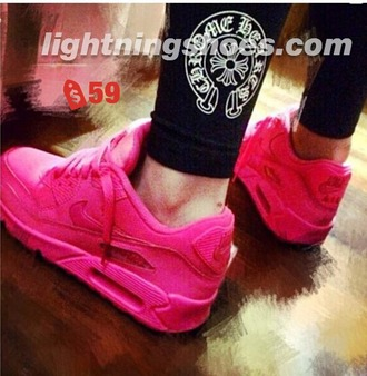 shoes fushia nike air max solid color pink athletic sports shoes