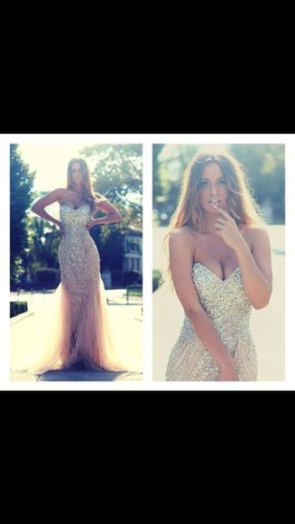dress prom dress bling sequin dress sequins chiffon nude fitted dress