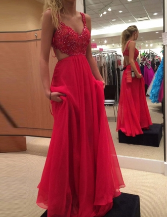 dress red prom dress beading prom dresses prom dresses 2016 chiffon prom dresses red dress chiffon backless backless dress