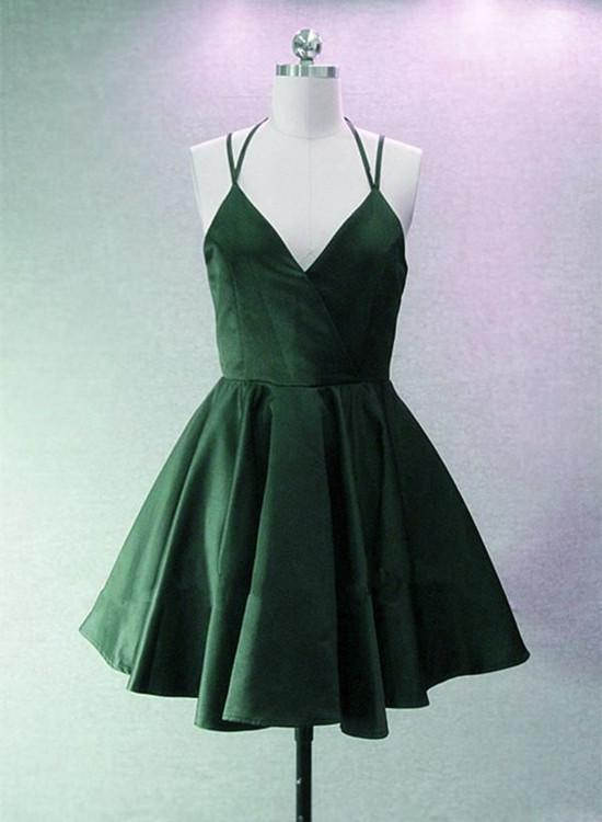 47c3db946d37 Green Halter Short Satin Long Party Dress, Green Homecoming Dresses 2018,  Short Party Dress