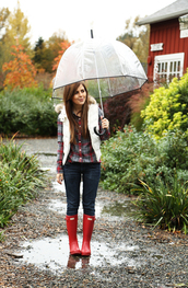 dress corilynn,blogger,umbrella,plastic,wellies,shirt,faux fur,hunter boots