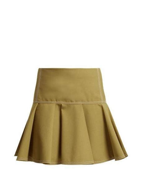 Chloé Chloé - Mid Rise Wool Blend Skirt - Womens - Light Brown