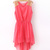 Red Sequin Dress - Sequin Shoulder High-Low Chiffon Dress | UsTrendy
