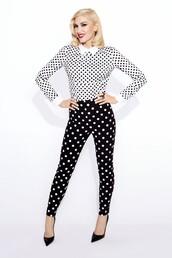 pants,blouse,polka dots,top,gwen stefani,shoes,pumps,skinny pants,high heel pumps