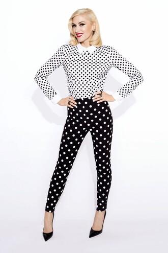 pants blouse polka dots top gwen stefani shoes pumps