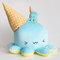 Melty géant ~ super doux et très bien pour étreindre ! rencontrez le poulpe déguisé en un cornet de crème glacée – ignoré !