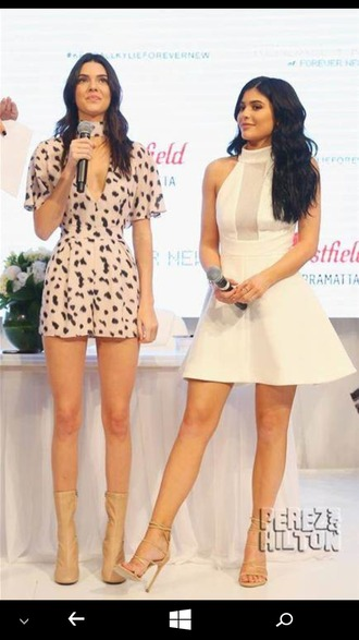dress wavy hair nude heels kendall and kylie jenner mesh dress white dress