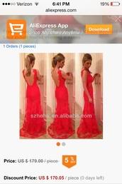 dress,red lace backless prom dress long,lace dress