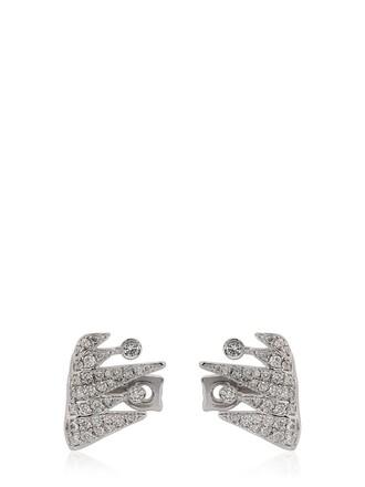 cuff earrings white jewels