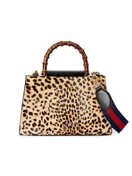gucci women bag leather nude print suede leopard print