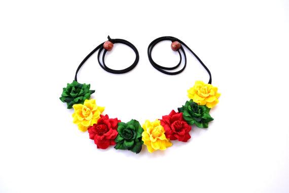Flower crown rasta flower halo headband jamaican floral halo red yellow green daisy crown bohemian hippie headpiece festival crown rasta