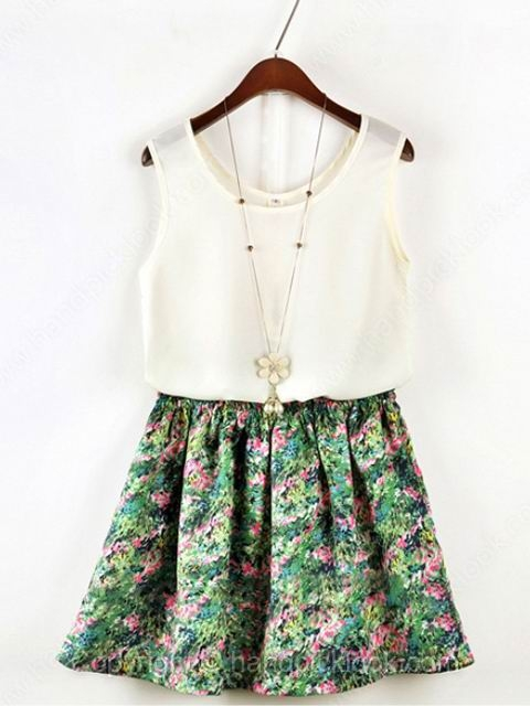 White Sleeveless Vest With Green Elastic Waist Floral Print Skirt - HandpickLook.com