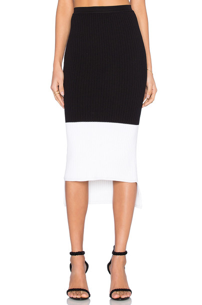 skirt knit white black