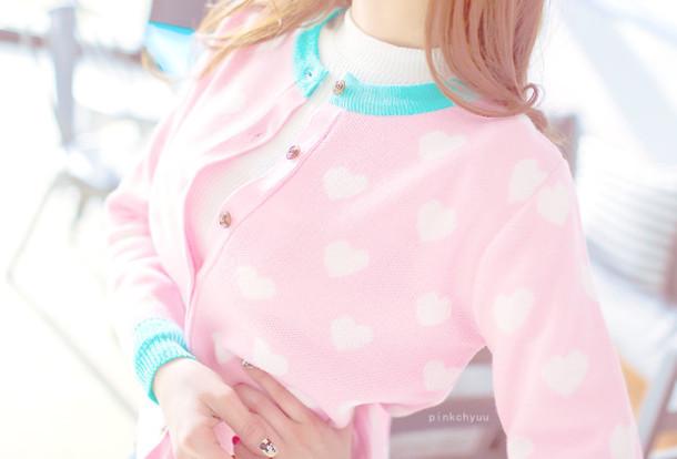 cardigan pink heart cute pastel pastel pink kawaii