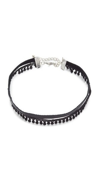 necklace choker necklace leather black jewels