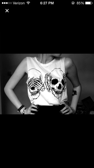 t-shirt shirt black and white grunge goth goth hipster skeleton graphic tee tank top