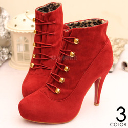 Online Shop Ankle boots red velvet ankle boots casual boots high-heeled boots 2013 women's boots fashion women's short boots|Aliexpress Mobile