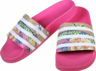 shoes flip-flops pink flowers