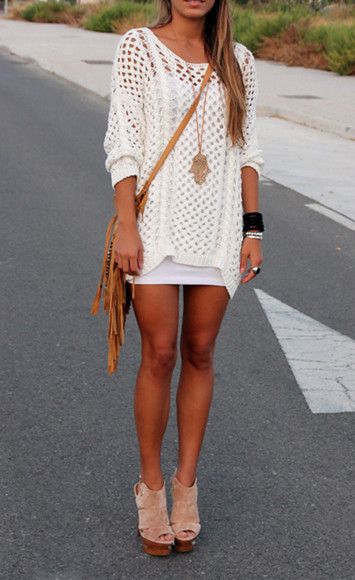 white crochet top bag shirt dress sweater