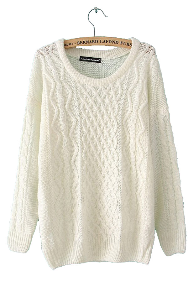 Cable Knit Pullover Beige White Sweaters  sweater coats for women