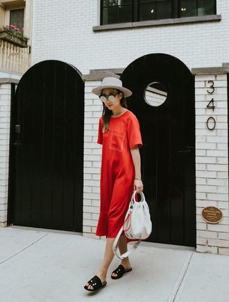 dress shoes tumblr midi dress red dress short sleeve dress bag white bag hat