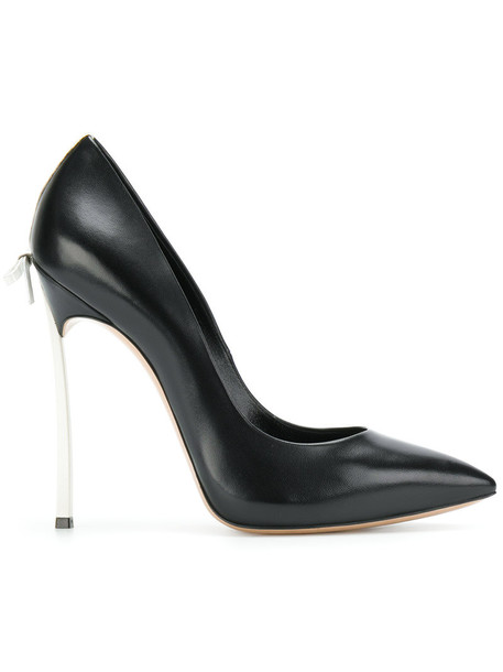CASADEI bow women embellished pumps leather black shoes