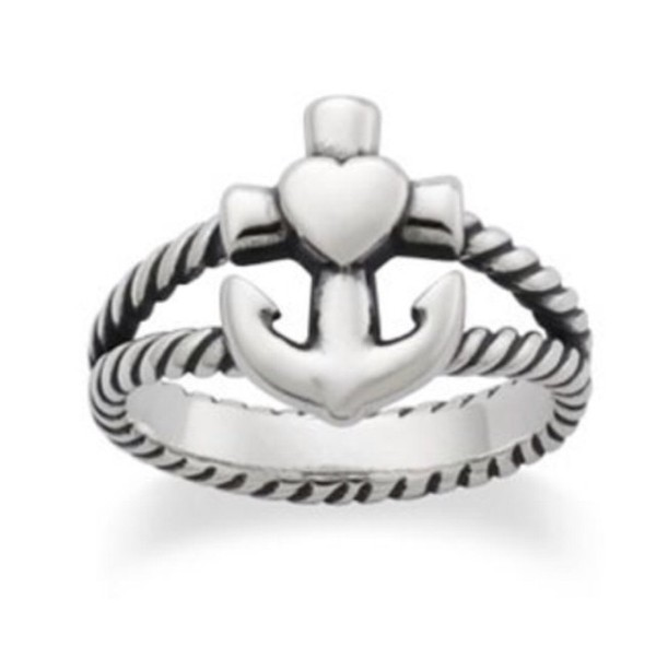jewels anchor ring cute heart rope jewelry refuse to sink