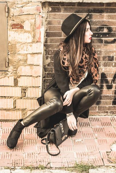 shoes and basics blogger hat leopard print leather leggings coat shirt pants bag shoes