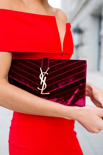 hello fashion blogger red dress velvet red velvet quilted bag ysl ysl bag