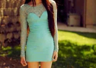 dress turquoise spring party mesh bodycon tight slim