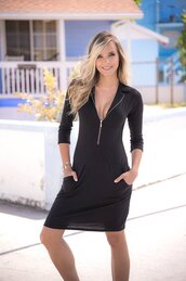 dress,zip up front,hip pockets,collared,long sleeves,mapalé,boho dress,bikiniluxe