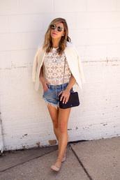 cella jane,blogger,jacket,tank top,shorts,bag