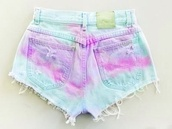 shorts,ombre bleach dye,ombre,colorful,colourful shorts,pretty,cool,cute,girly,edgy,elegant