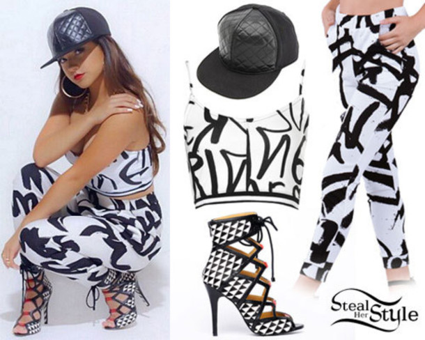 tank top top cap shoes pants black and white