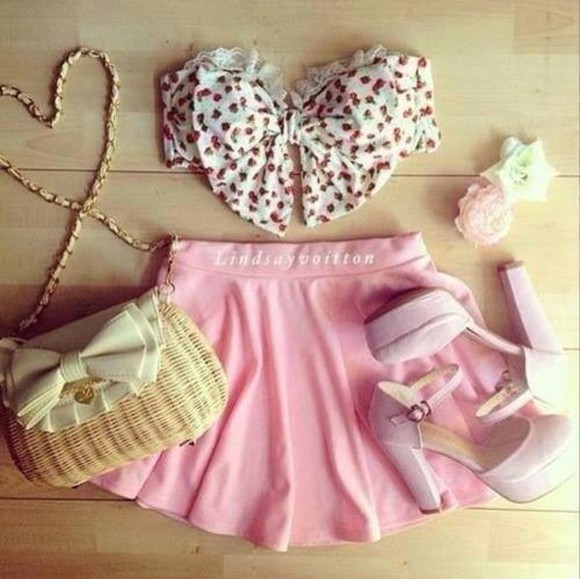 bows pink hair clip skirt wicket side bag high heels floral bow bra red tank top bag shoes