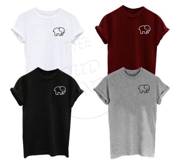 ab3f523e t-shirt, boho tshirt, elephant print, pocket print, pocket t-shirt ...
